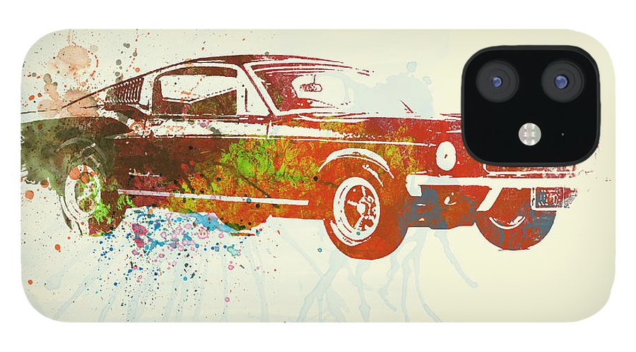 Ford Mustang iPhone 12 Case featuring the painting Ford Mustang Watercolor by Naxart Studio