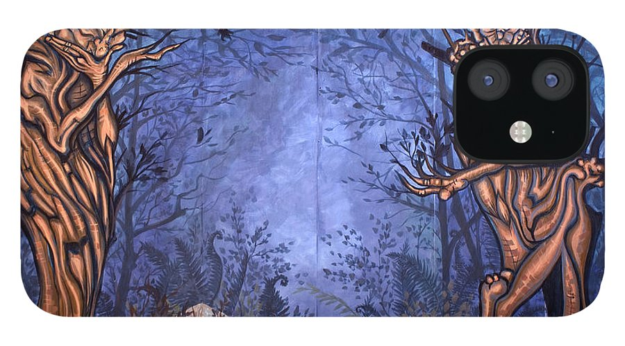 Mystic IPhone 12 Case featuring the painting Forest by Judy Henninger