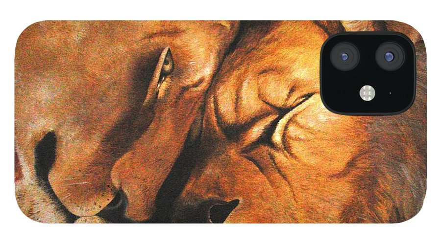 Lion iPhone 12 Case featuring the painting Forgiven by Glory Fraulein Wolfe