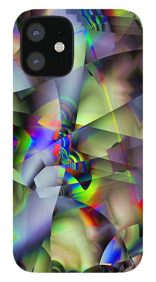 Fractal IPhone 12 Case featuring the digital art Fractal Cubism by Ron Bissett