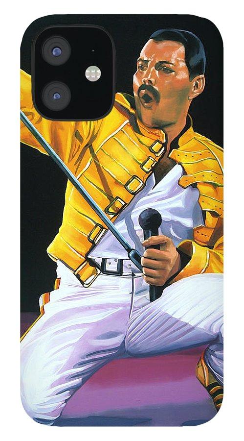 Freddie Mercury IPhone 12 Case featuring the painting Freddie Mercury Live by Paul Meijering