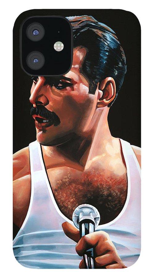 Freddie Mercury IPhone 12 Case featuring the painting Freddie Mercury by Paul Meijering