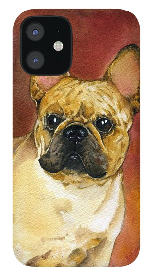 French Bulldog IPhone 12 Case featuring the painting French Bulldog by Kathleen Sepulveda