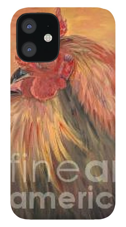 Rooster IPhone 12 Case featuring the painting French Country Rooster by Nadine Rippelmeyer