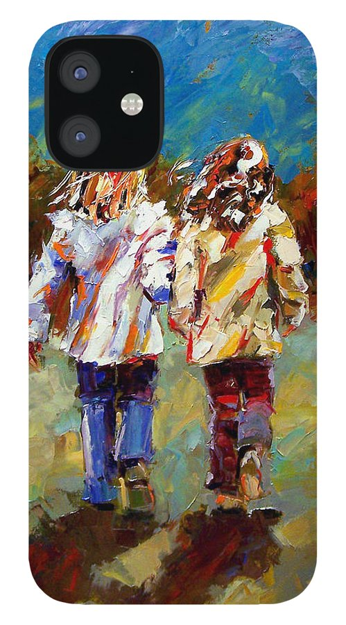 Girls IPhone 12 Case featuring the painting Friends Forever by Debra Hurd