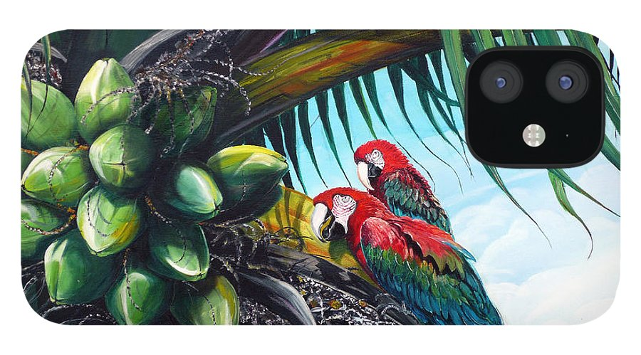 Macaws Bird Painting Coconut Palm Tree Painting Parrots Caribbean Painting Tropical Painting Coconuts Painting Palm Tree Greeting Card Painting IPhone 12 Case featuring the painting Friends Of A Feather by Karin Dawn Kelshall- Best