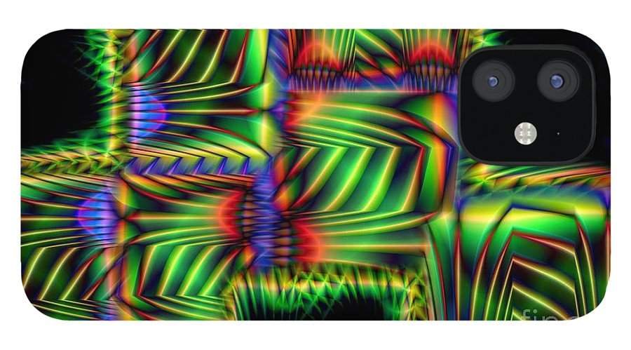 Abstract IPhone 12 Case featuring the digital art Frond Collage by Ron Bissett