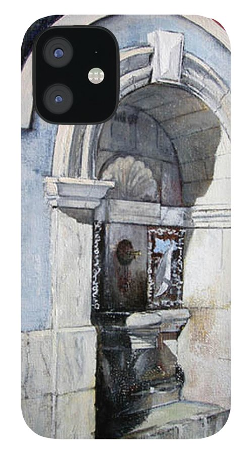 Fuente IPhone 12 Case featuring the painting Fuente Castro Urdiales by Tomas Castano