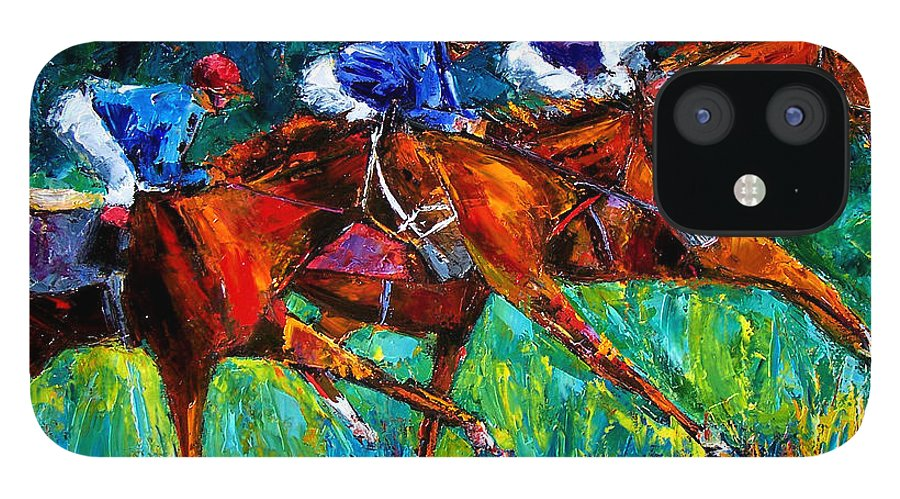 Horse Race IPhone 12 Case featuring the painting Full Speed by Debra Hurd