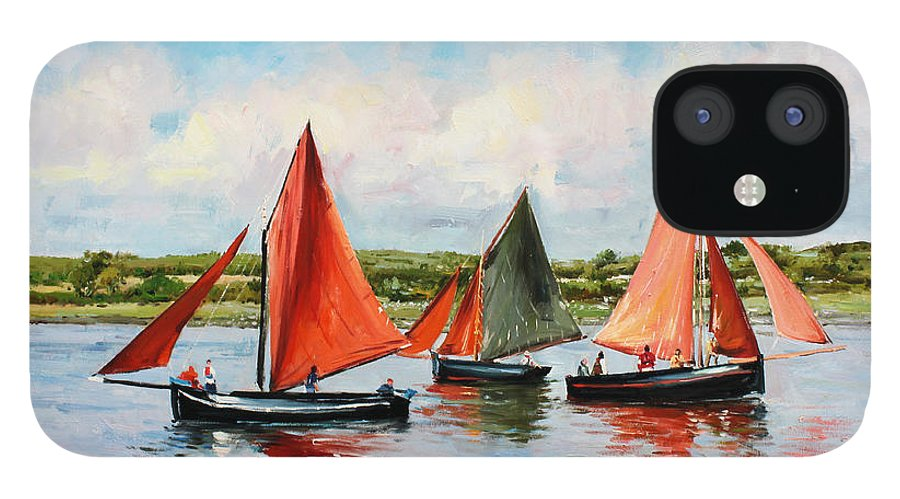 Galway Hooker IPhone 12 Case featuring the painting Galway Hookers by Conor McGuire