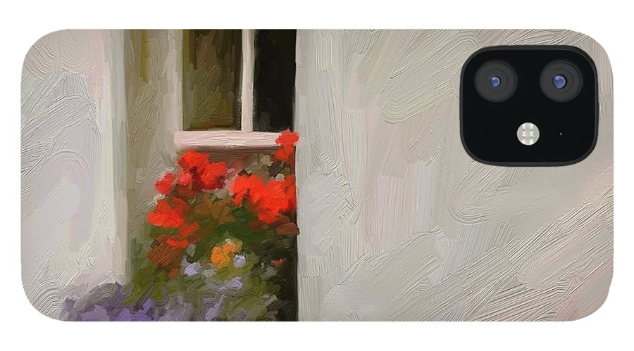 Art Painting Landscape IPhone 12 Case featuring the digital art Galway Window by Scott Waters