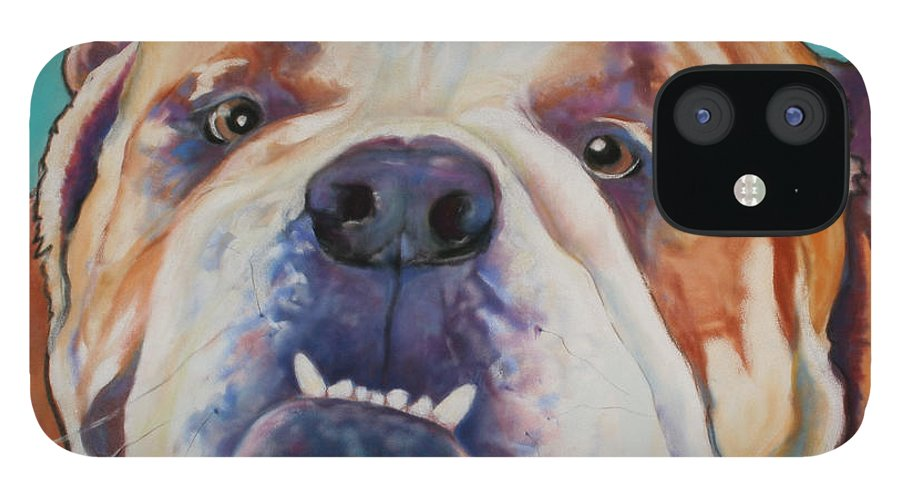 Pat Saunders-white Pet Portraits IPhone 12 Case featuring the painting Game Face  by Pat Saunders-White