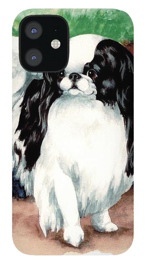 Japanese Chin IPhone 12 Case featuring the painting Garden Chin by Kathleen Sepulveda