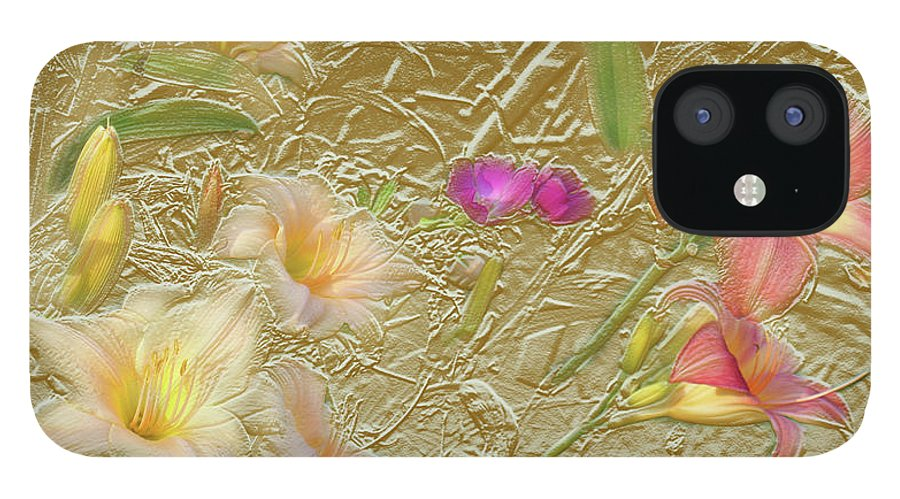 Garden iPhone 12 Case featuring the mixed media Garden in Gold Leaf2 by Steve Karol