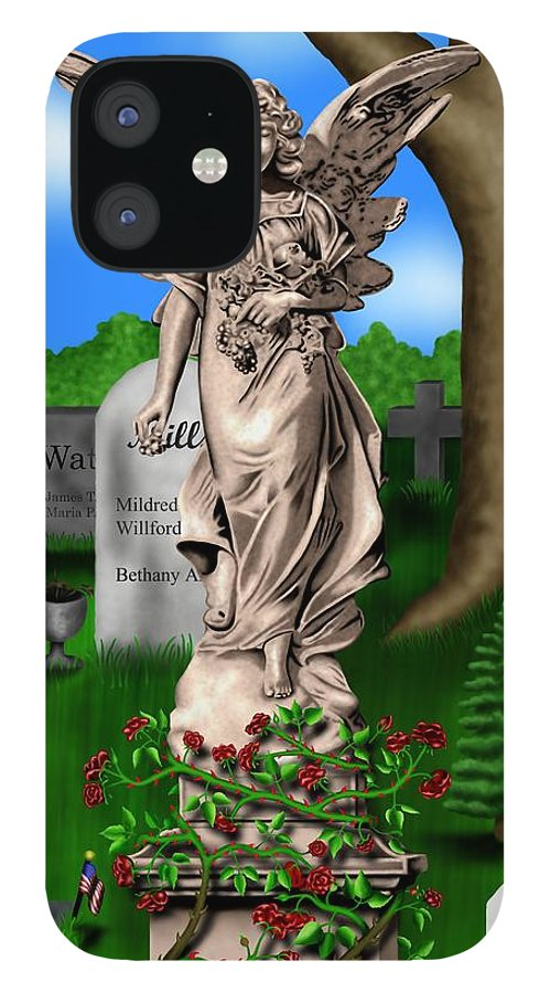 Surrealism IPhone 12 Case featuring the digital art Garden Landscape III b - Where The Dead Sleep by Robert Morin