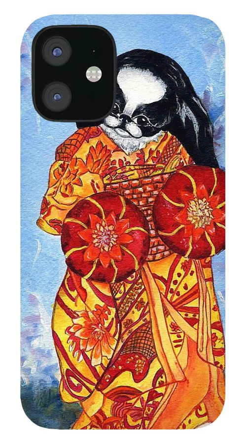 Japanese Chin IPhone 12 Case featuring the painting Geisha Chin by Kathleen Sepulveda