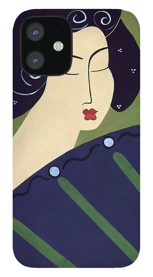 #japanese IPhone 12 Case featuring the painting Geisha Doll by Jacquelinemari