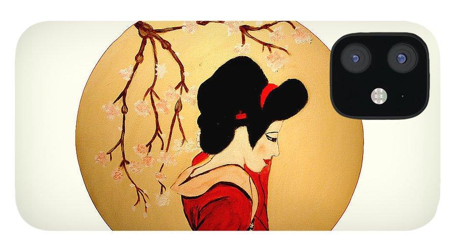 Geisha Girls IPhone 12 Case featuring the painting Geisha Girl by Rusty Gladdish