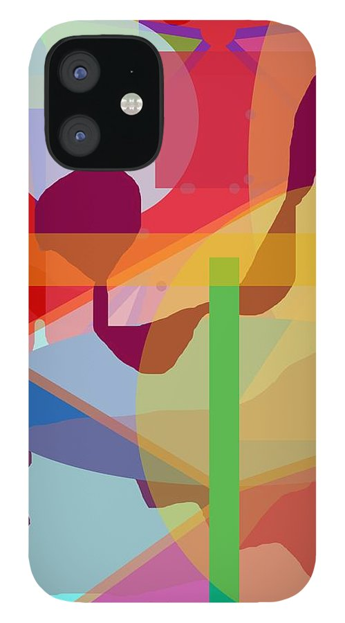 Abstract IPhone 12 Case featuring the painting Geo Frenzy by Pharris Art