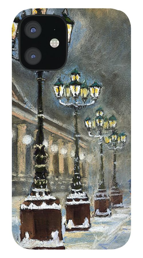 Pastel IPhone 12 Case featuring the painting Germany Baden-Baden Kurhaus by Yuriy Shevchuk