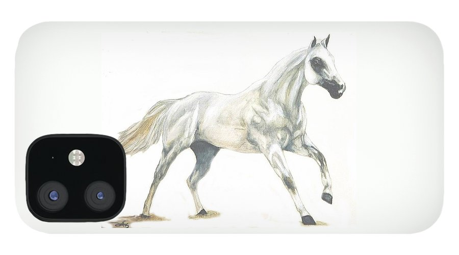 White Horse IPhone 12 Case featuring the painting Ghost Horse by Debra Sandstrom