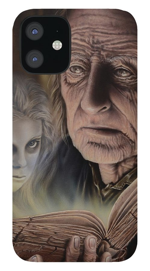 Airbrush iPhone 12 Case featuring the painting Ghost In The Book by Robert Haasdijk
