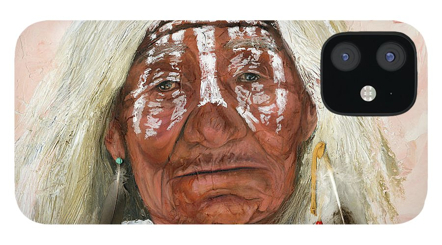 Southwest Art IPhone 12 Case featuring the painting Ghost Shaman by J W Baker