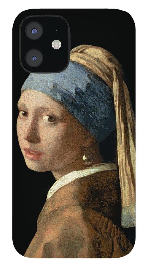 Jan Vermeer IPhone 12 Case featuring the painting Girl with a Pearl Earring by Jan Vermeer
