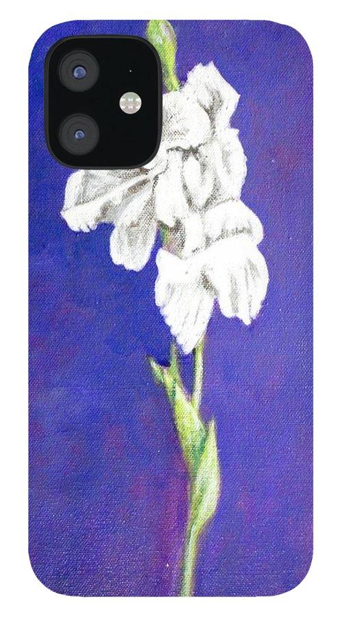 IPhone 12 Case featuring the painting Gladiolus 2 by Usha Shantharam