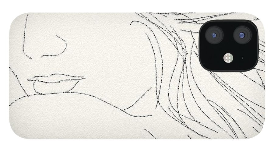 Drawing IPhone 12 Case featuring the digital art Glance by Scott Waters