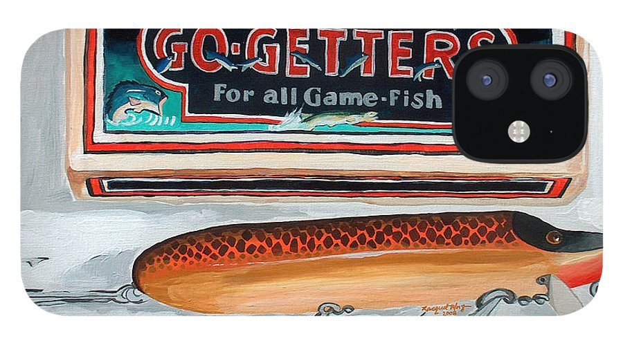 Fishing IPhone 12 Case featuring the painting Go Getters by Racquel Morgan