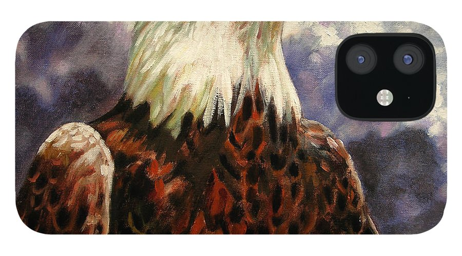 American Bald Eagle IPhone 12 Case featuring the painting God Bless America by John Lautermilch