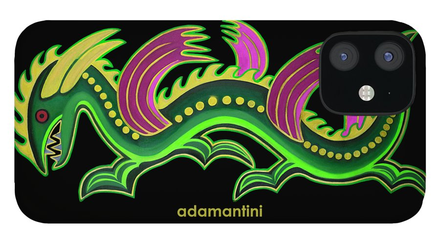 Gold And Green Big Dragon IPhone 12 Case featuring the painting Gold and green big dragon by Adamantini Feng shui