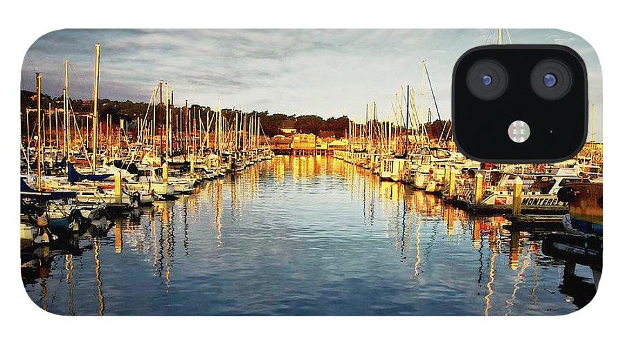 Sunrise iPhone 12 Case featuring the photograph Gold Light, Monterey Marina by Zayne Diamond Photographic