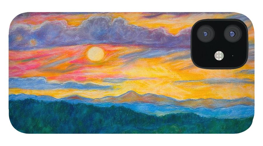 Landscape IPhone 12 Case featuring the painting Golden Blue Ridge Sunset by Kendall Kessler