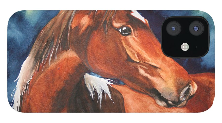 Horse IPhone 12 Case featuring the painting Golden Boy by Jean Blackmer