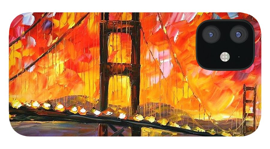 City iPhone 12 Case featuring the painting Golden Gate Bridge by Leonid Afremov