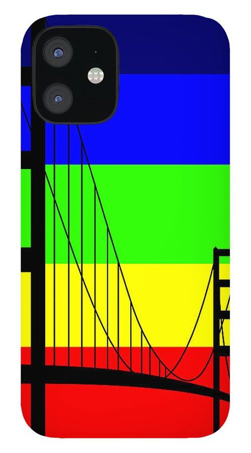 Golden Gate IPhone 12 Case featuring the digital art Golden Gay by Asbjorn Lonvig
