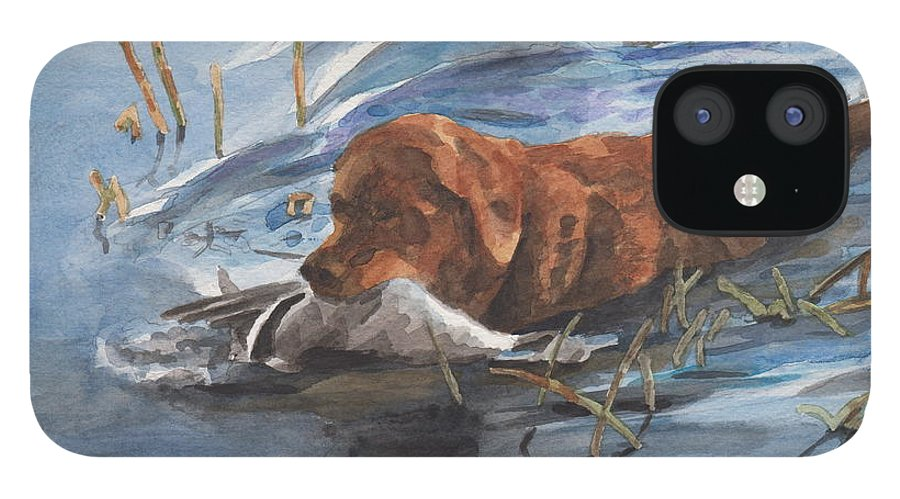 Www.miketheuer.com Golden Retriever With Duck Watercolor Portrait IPhone 12 Case featuring the drawing Golden Retriever With Duck by Mike Theuer