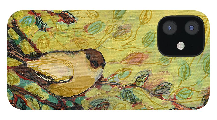 Bird IPhone 12 Case featuring the painting Goldfinch Waiting by Jennifer Lommers