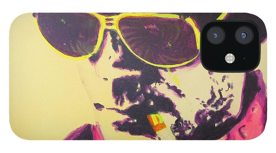 Hunter S. Thompson IPhone 12 Case featuring the painting Gonzo - Hunter S. Thompson by Eric Dee