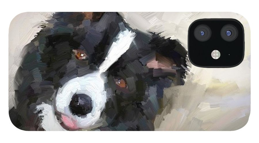 Border Collie Dog Sheepdog IPhone 12 Case featuring the digital art Got any sheep? by Scott Waters