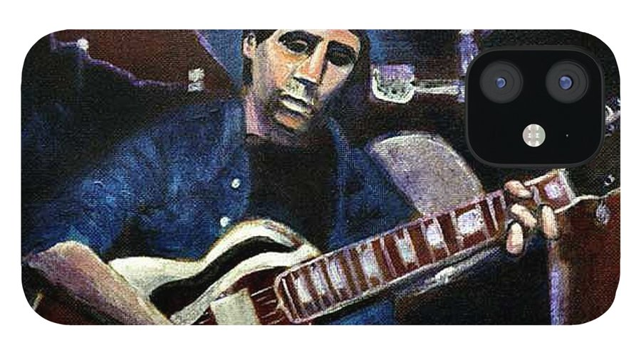 Shining Guitar IPhone 12 Case featuring the painting Graceland Tribute to Paul Simon by Seth Weaver