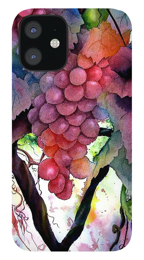 Grape IPhone 12 Case featuring the painting Grapes III by Karen Stark