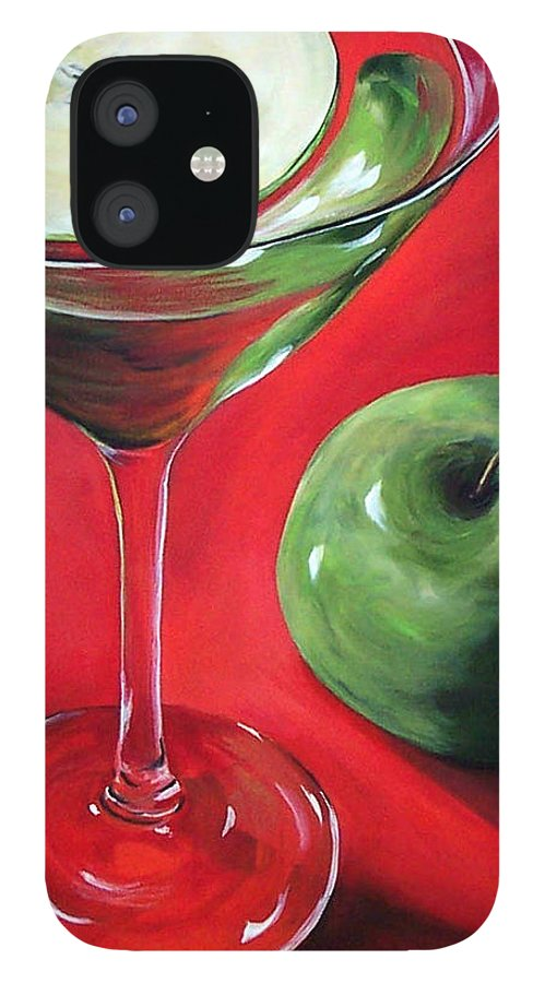 Martini IPhone 12 Case featuring the painting Green Apple Martini by Torrie Smiley