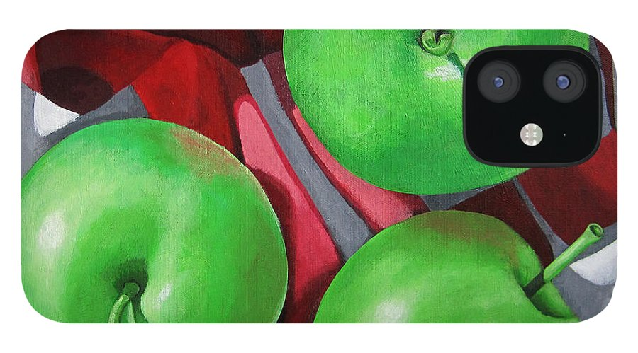Apples IPhone 12 Case featuring the painting Green Apples still life painting by Linda Apple
