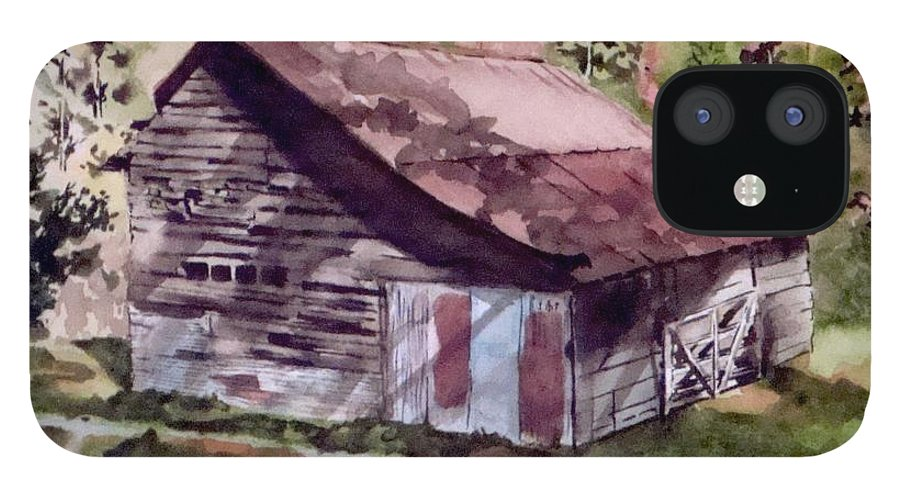 Barns IPhone 12 Case featuring the painting Green Creek Barn by Jean Blackmer