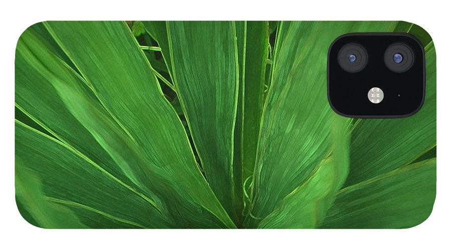 Green Plant IPhone 12 Case featuring the photograph Green Glow by Linda Sannuti