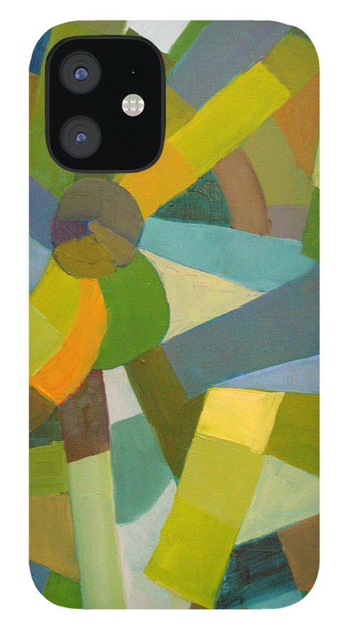 Green IPhone 12 Case featuring the painting Green Pallette by Art Nomad Sandra Hansen