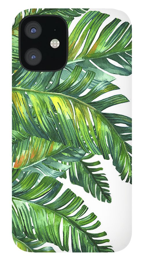 Summer iPhone 12 Case featuring the digital art Green Tropic by Mark Ashkenazi